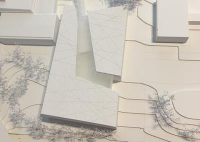 Maquette, concours pour la rénovation et l'agrandissement du Complexe Scolaire & Culturel de Beausobre. Architecture art et énergie.