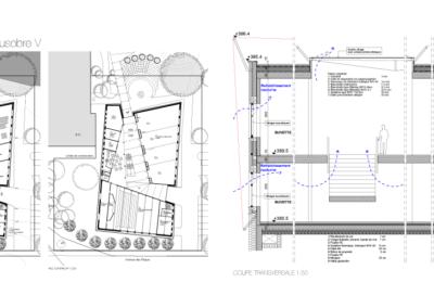 Plan, concours pour la rénovation et l'agrandissement du Complexe Scolaire & Culturel de Beausobre. Architecture art et énergie.