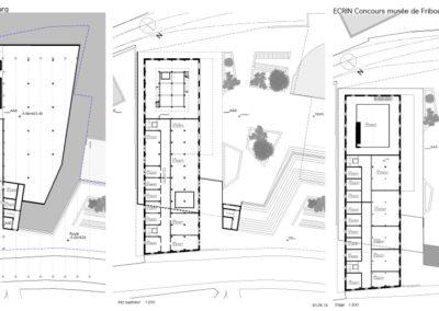 Plans, Concours pour la rénovation du Musée d'Histoire Naturelle de Fribourg. Le projet imaginé mêle architecture, art et énergie.