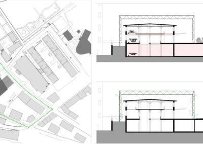 Plans et coupes, Concours pour la rénovation du Musée d'Histoire Naturelle de Fribourg. Le projet imaginé mêle architecture, art et énergie.
