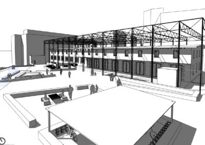 Plan filaire, Concours pour la rénovation du Musée d'Histoire Naturelle de Fribourg. Le projet imaginé mêle architecture, art et énergie.