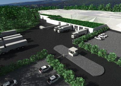 Plan 3D, projet architectural de grande envergure pour la construction d'une usine d'embouteillage à Divonne-Les-Bains, en France.